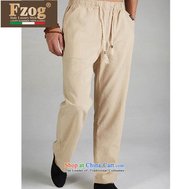 The new summer 2015 FZOG leisure long pants elastic waist men China wind pure color in Tang Dynasty older聽XXXL m Yellow