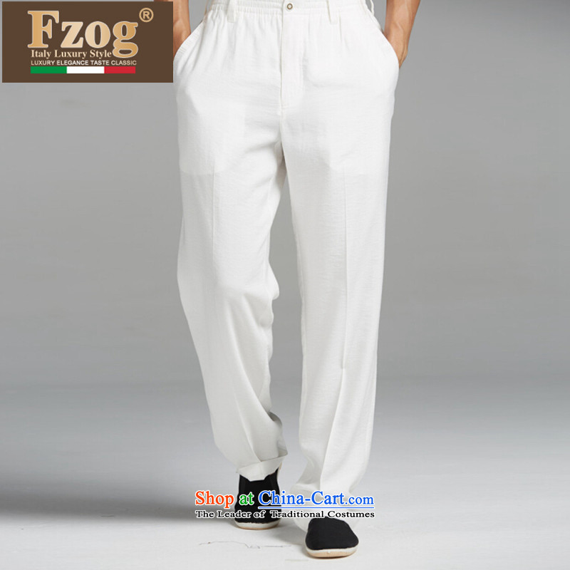 The new summer 2015 FZOG genuine counters relaxd casual Tang dynasty China wind long trousers and comfortable men White燲XL