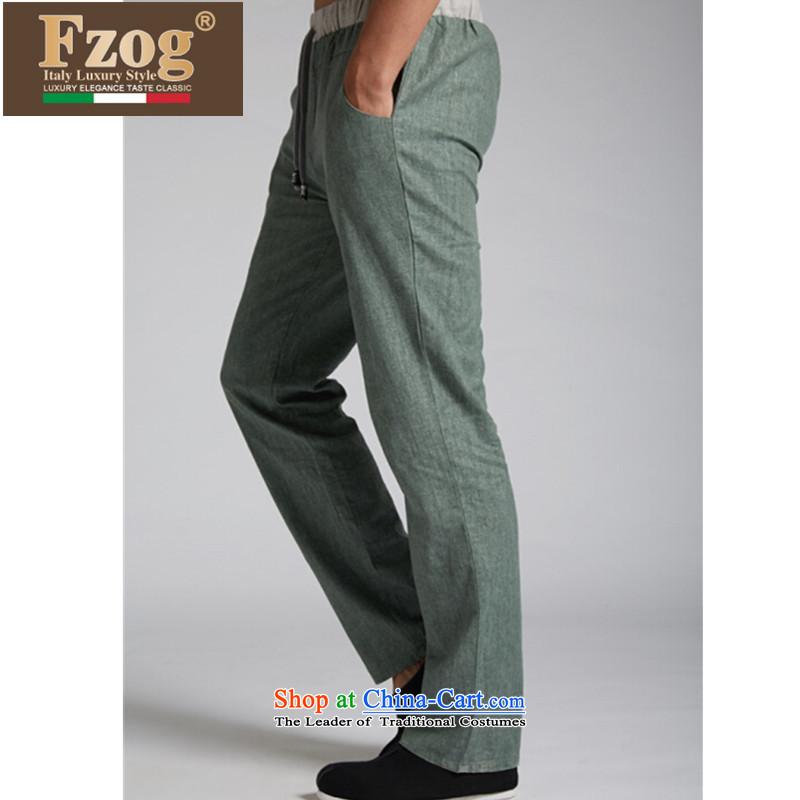 聽聽Tang Dynasty FZOG genuine counters new leisure loose spring and summer trousers traditional Chinese men's trousers green聽M,fzog,,, shopping on the Internet