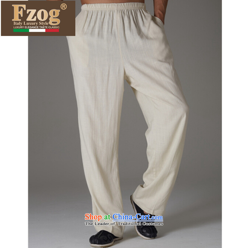 Fzog ?genuine counters Tang Long pants casual comfortable low elastic waist China wind solid color men m White?L