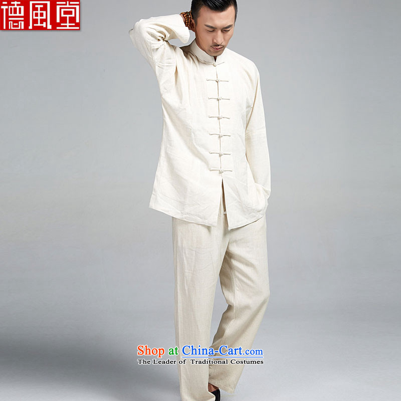 De Fudo Xuanwu kit shirt + 100% linen pants long-sleeved 4.5-60s Ma Lin shoulder Chinese 7 Snap the spring and autumn Tang China Wind Jacket men Taegeuk?3XL PERLATO SVEVO