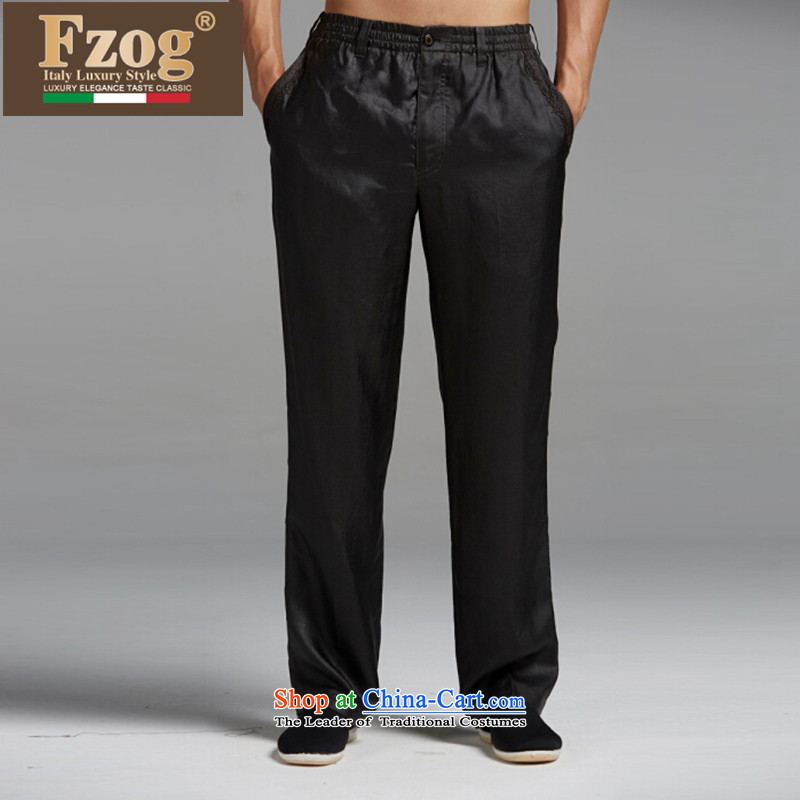 聽聽New upscale FZOG summer China wind Tang casual thin, comfort and breathability men long pants black聽XXL