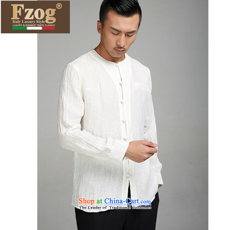 ��High-end products, China FZOG wind men Chinese linen Long-sleeve summer round-neck collar retro Tang dynasty white�M