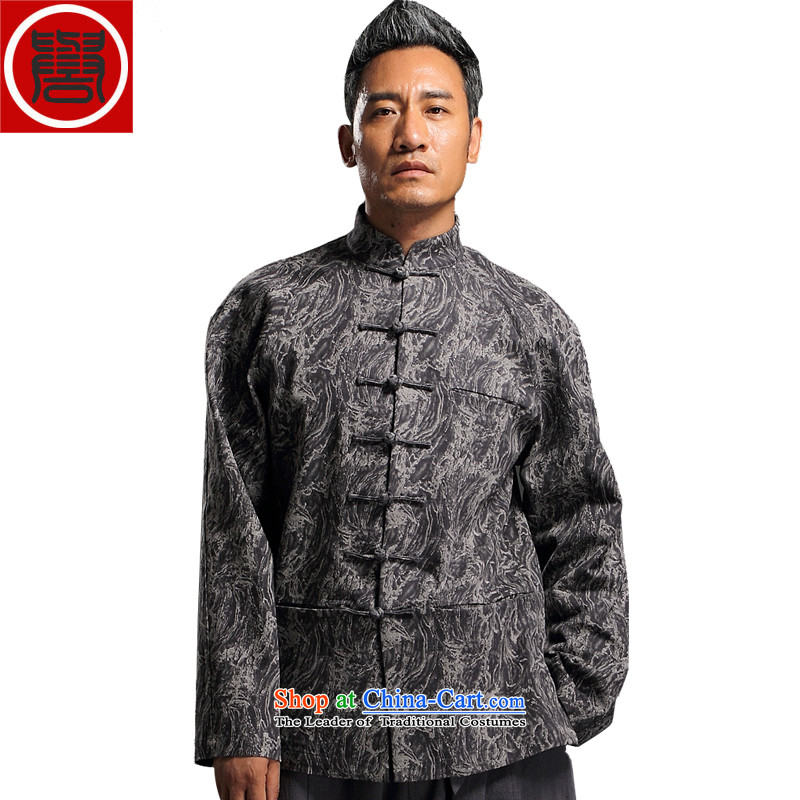 Renowned China wind embroidery autumn and winter Han-Tang Dynasty Male Male knitting cowboy shirt collar jacket Chinese tunic national dress jacket male Q1655 XXL