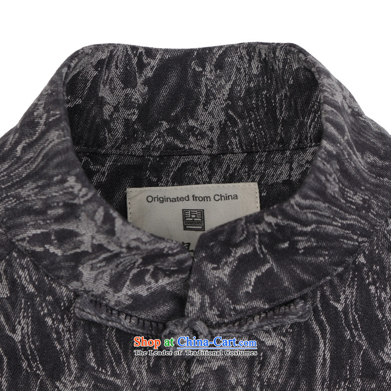 Renowned China wind embroidery autumn and winter Han-Tang Dynasty Male Male knitting cowboy shirt collar jacket Chinese tunic national dress jacket聽Q1655 XXL, men renowned (CHIYU) , , , shopping on the Internet