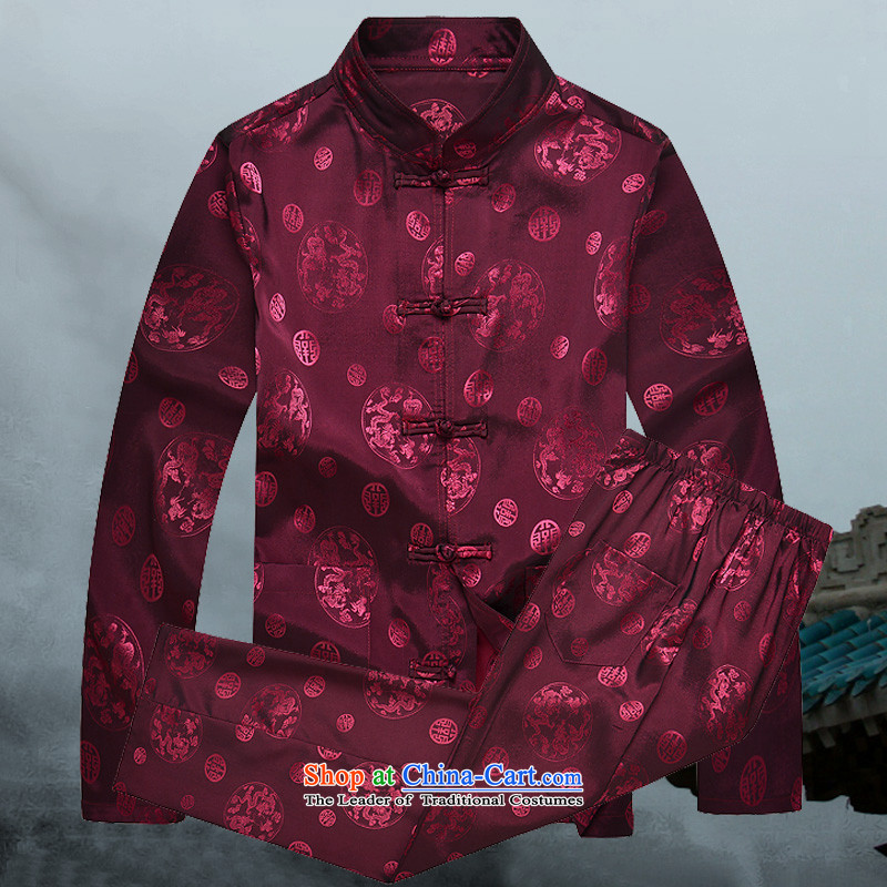 �� clothes + pants mr.baidis �� men Tang Dynasty Package long-sleeved Han-CT102 auspicious?XL-180 red
