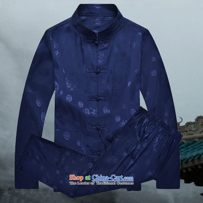 �� clothes + pants mr.baidis �� men Tang Dynasty Package long-sleeved Han-CT102?XL-180 Classic Blue