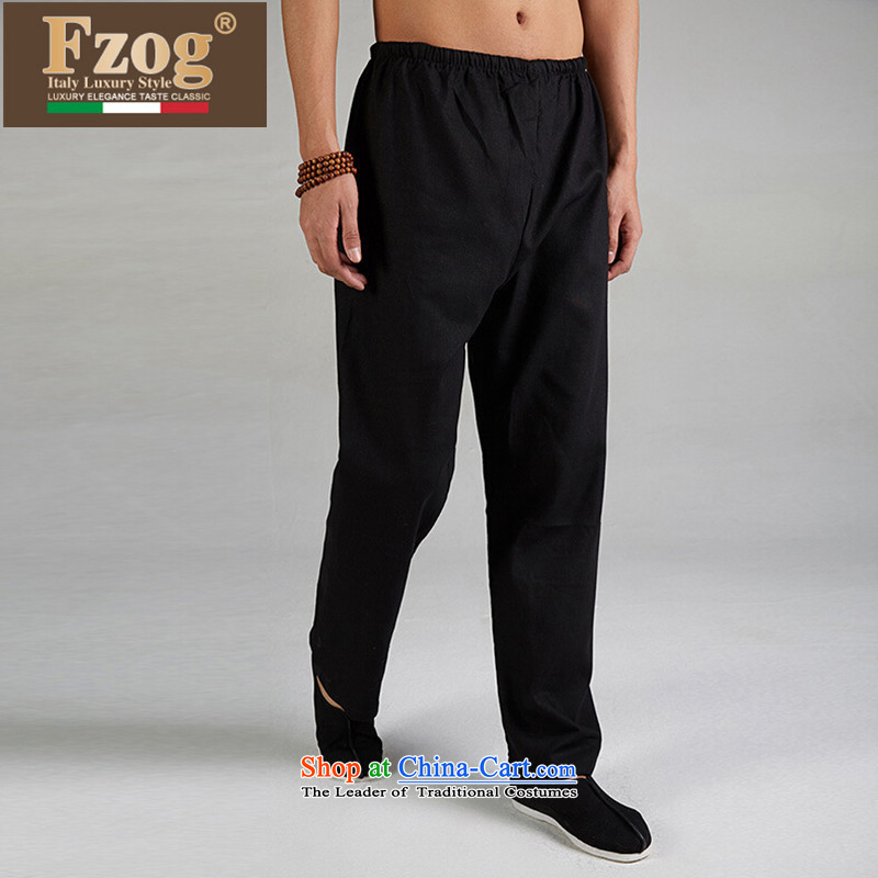 The new summer 2015 FZOG Leisure Long Pants China wind men pure color thin breathable Tang boxed genuine product black聽L