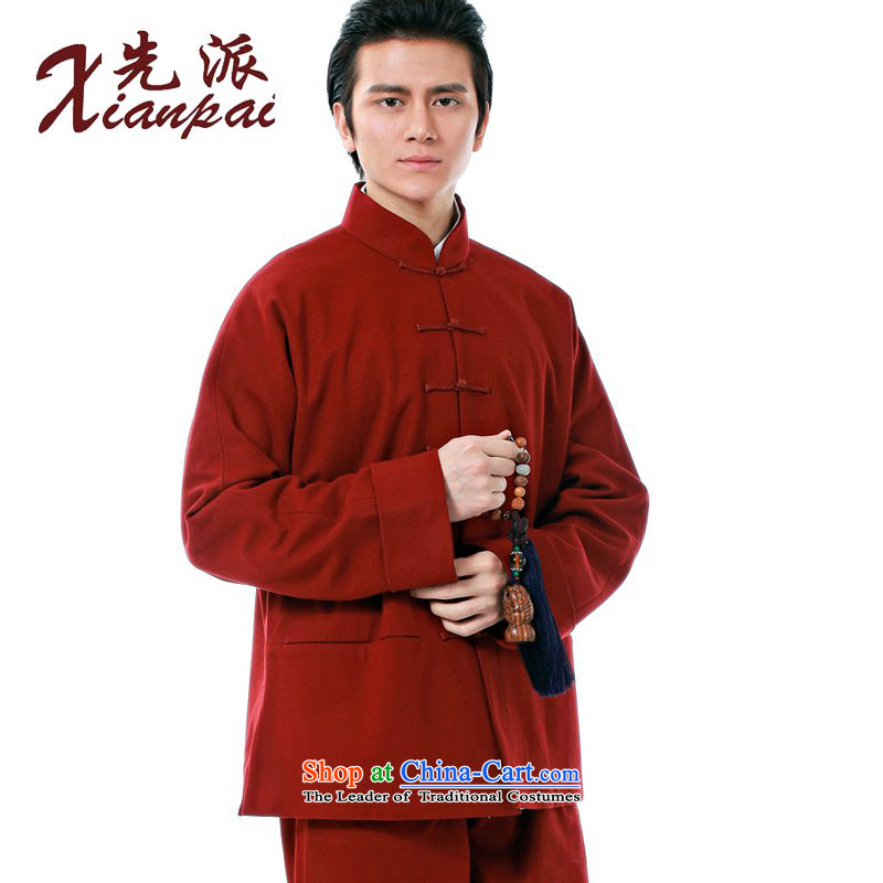 The dispatch of the Spring and Autumn Period and the Tang dynasty China wind men long-sleeved disc detained Chinese national costumes and stylish Sau San cotton wool coat Stylish spring? Sau San Tong replacing double Composite cotton red field that gross