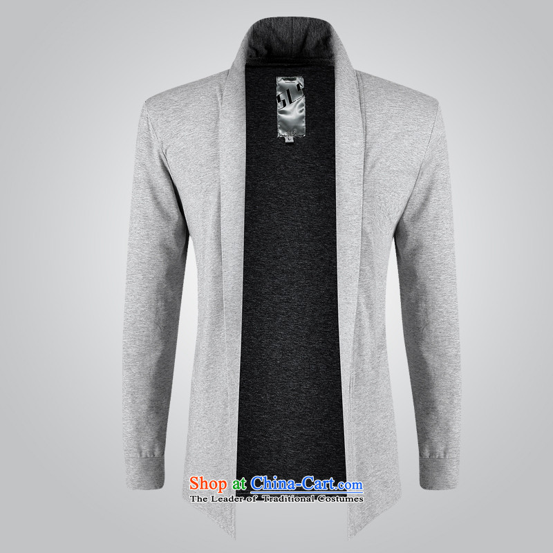 Grass cloth rattan Tang dynasty minimalist leisure long-sleeved T-shirt men during the spring and autumn Pure Cotton Thin jacket, light gray 15.51�XXL