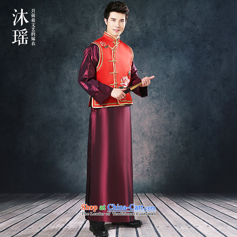 Bathing in the Chinese men Sau Yiu Wo service long drink service kit A bridegroom-soo and gowns men welcome ceremony for autumn and winter costume Large Tang dynasty red made thick red M chest 114CM