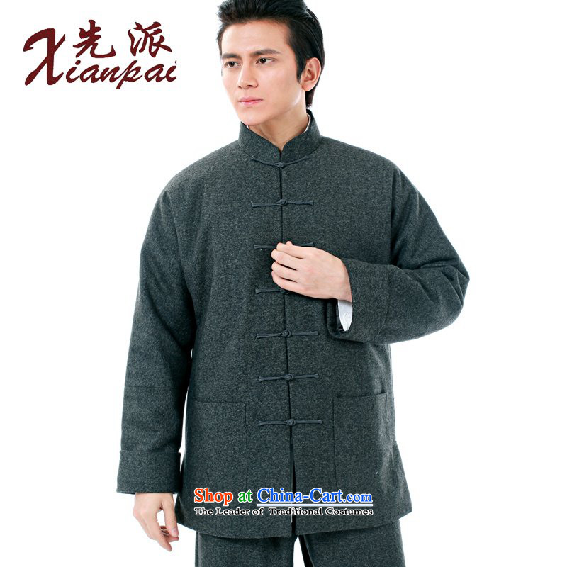 The dispatch of the winter-thick hair? Tang dynasty crisp men even the elderly in the countrysides shoulder collar dress new Chinese Disc detained father wool, gray robe ����4XL