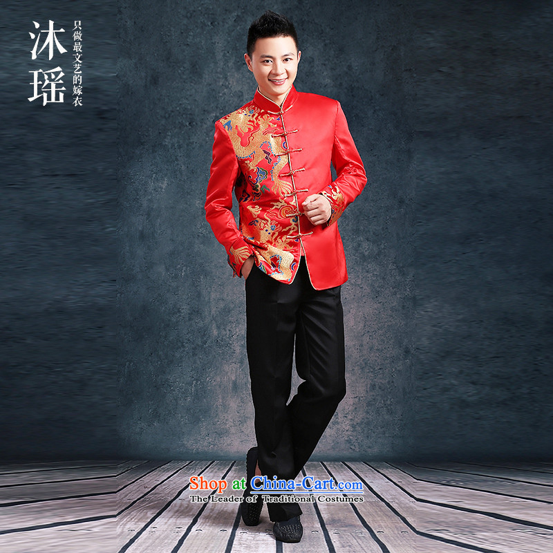 Pang Daomu men yao Su Wo Service of the bridegroom Chinese men married wedding dresses bows service men Chinese tunic Sau San Tong replacing large red suit autumn and winter thick-made single-sided dragon S6412 L chest 120CM