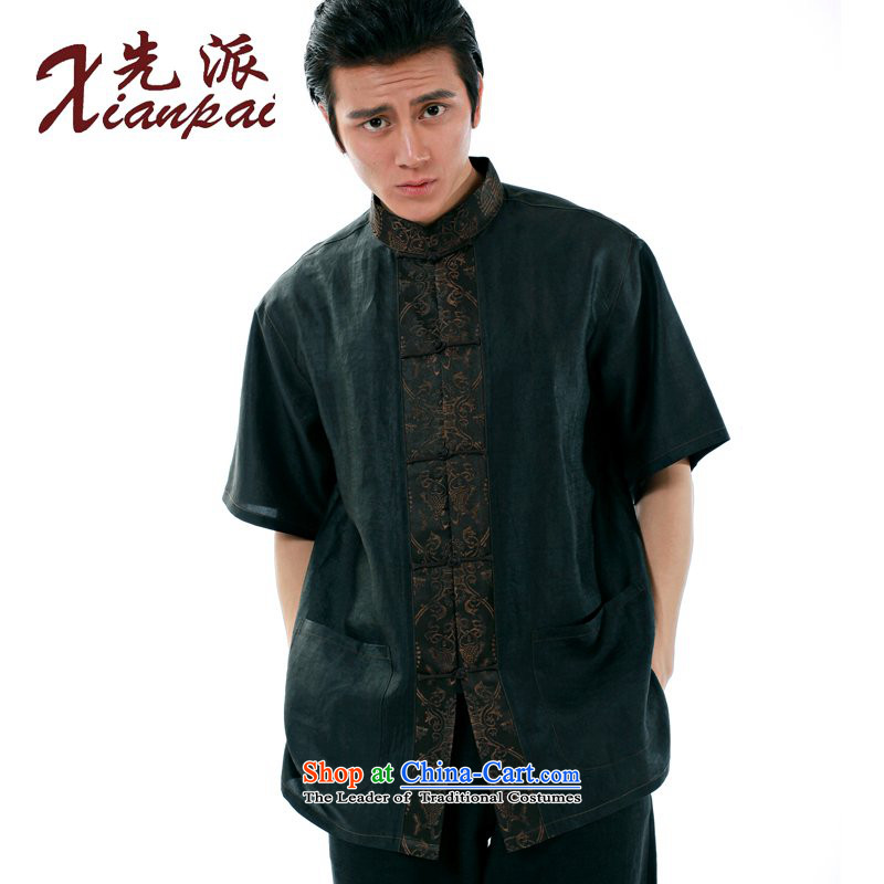 To send the new summer spell of stylish handmade silk Heung-cloud Tang dynasty yarn male short-sleeved Chinese Dress Shirt-buttoned, stylish China wind high-end father dress Heung-cloud fish yarn short-sleeved T-shirt燣