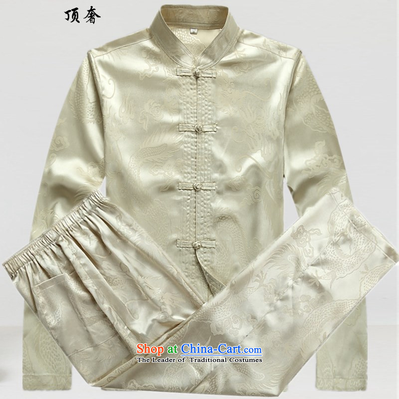 Top Luxury men Tang dynasty loose collar disc labeled version clothes for men from the spring and autumn of long-sleeved sweater large load father installed shou wedding dress beige Tang dynasty beige pants shirts kit plus�0