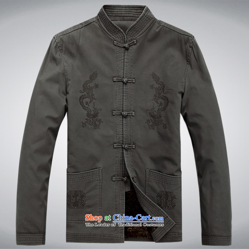 The autumn and winter, aeroline men Tang dynasty China wind long-sleeved jacket in both the father of older燲XXL Gray