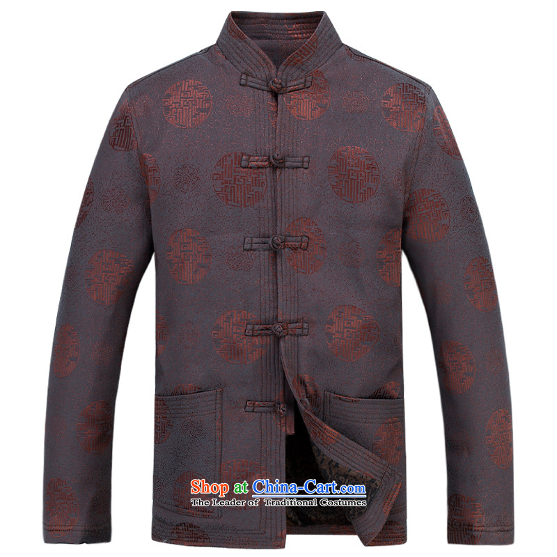 The autumn and winter, aeroline men Tang dynasty China wind long-sleeved father in older kit�XXXL Brown