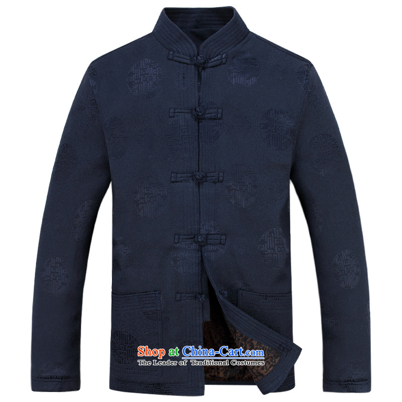 The autumn and winter, aeroline men Tang dynasty China wind long-sleeved father in older packaged deep blue燲XXL