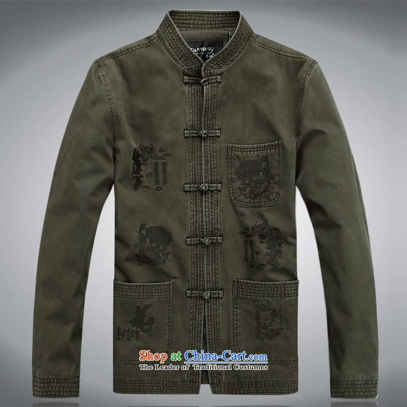 The autumn and winter, aeroline men Tang dynasty China wind long-sleeved jacket in both the father of older Army Green XXL