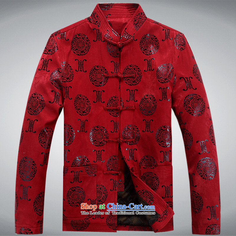 The autumn and winter, aeroline men Tang dynasty China wind long-sleeved father in dark red jacket older燣