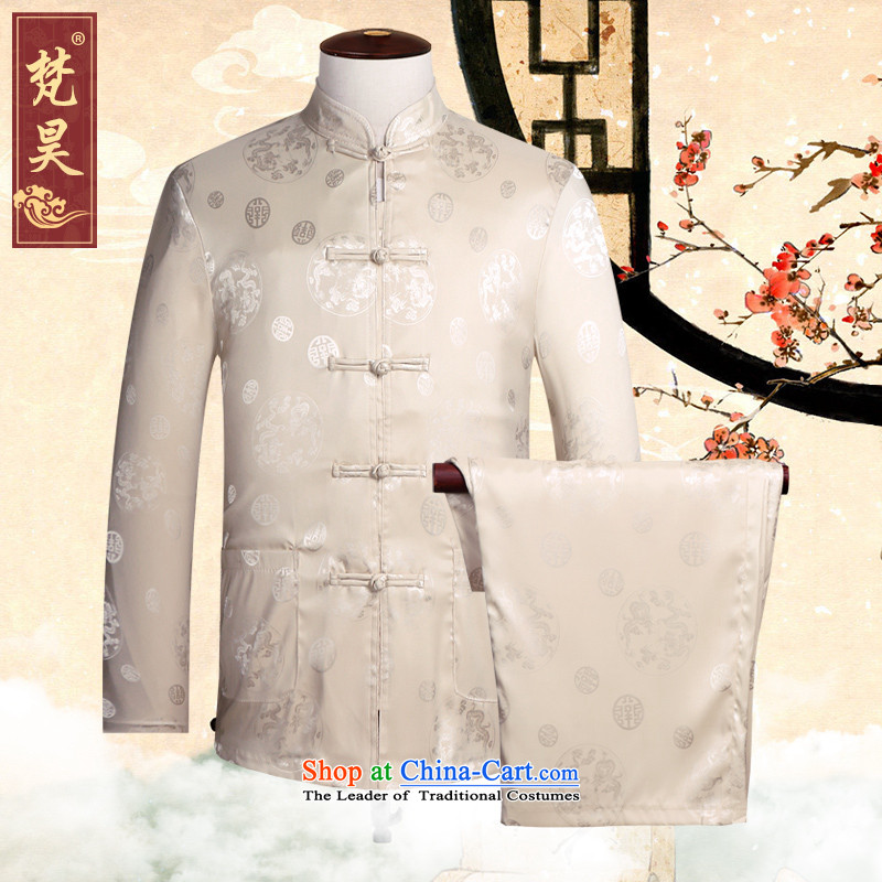 Van Gogh Ho Tang Dynasty Chinese men and a long-sleeved kit silk tie of ethnic elderly disc shirt father boxed燭CS502燳ellow�L
