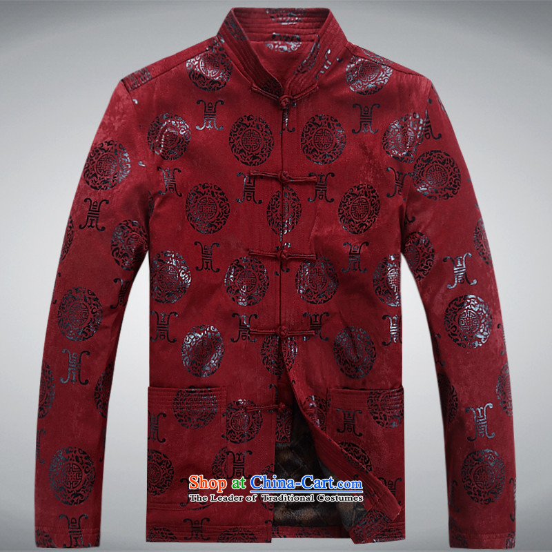 The autumn and winter, aeroline men Tang dynasty China wind long-sleeved jacket in both the father of older deep red XL