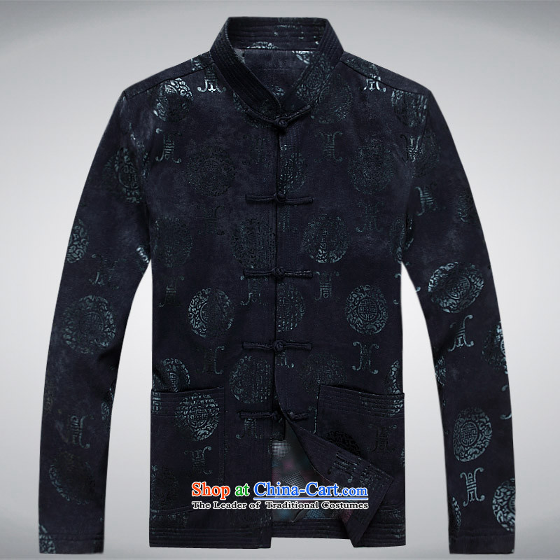 The autumn and winter, aeroline men Tang dynasty China wind long-sleeved father in dark blue jacket older聽L