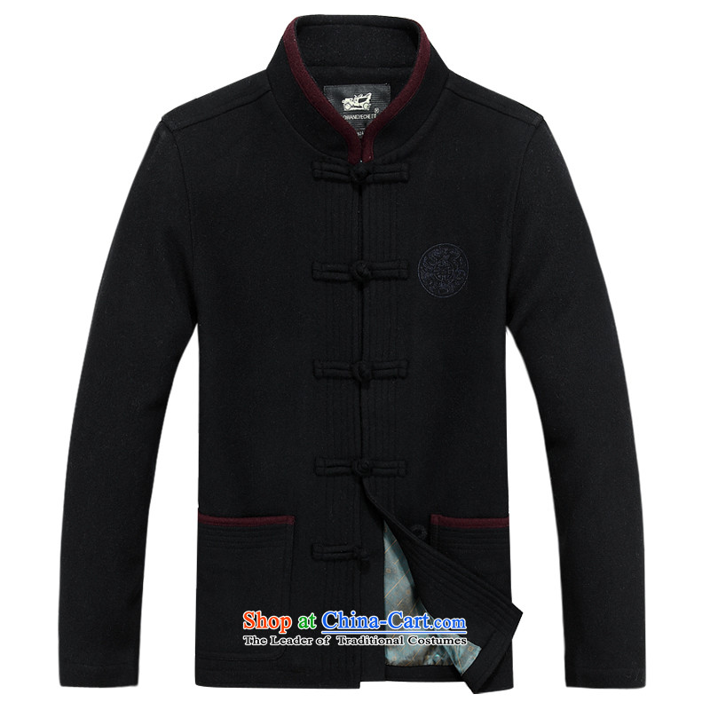 The autumn and winter, aeroline men Tang dynasty China wind long-sleeved father in dark blue聽XXXL older Jacket