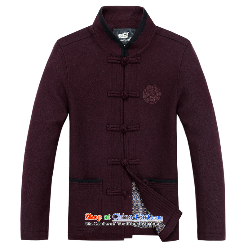 The autumn and winter, aeroline men Tang dynasty China wind long-sleeved jacket in both the father of older燲XXL Purple