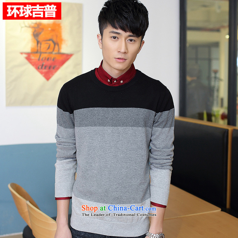 International long-sleeved Knitted Shirt and Jeep 2015 new stylish Korean Sau San sweater H2008?XXXL black