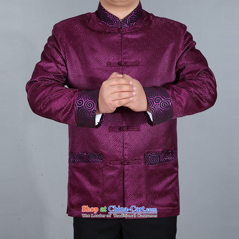 The autumn and winter, aeroline men Tang dynasty China wind long-sleeved jacket in both the father of older purple?M