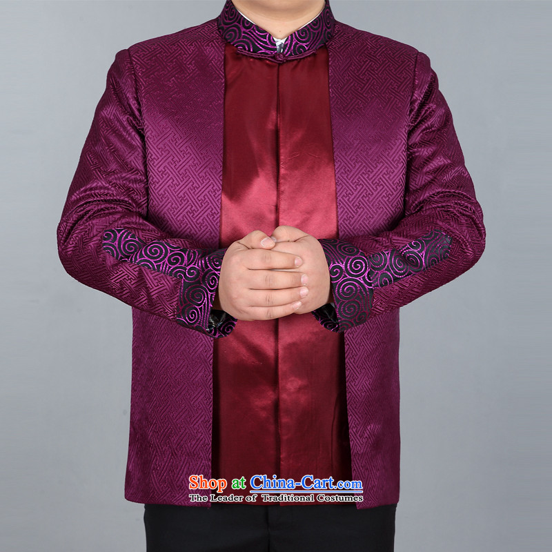 The autumn and winter, aeroline men Tang dynasty China wind long-sleeved jacket in both the father of older purple�XXL