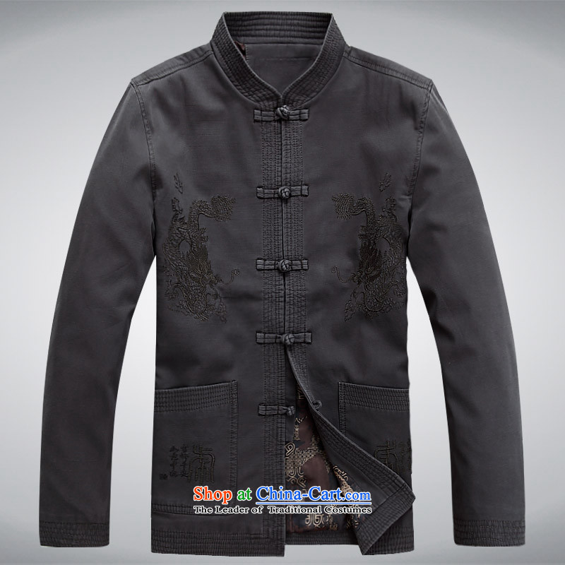 The autumn and winter, aeroline men Tang dynasty China wind long-sleeved jacket in both the father of older gray?M