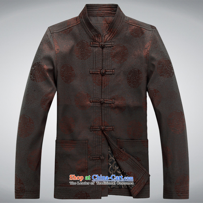 The autumn and winter, aeroline men Tang dynasty China wind long-sleeved father in older kit brown�S