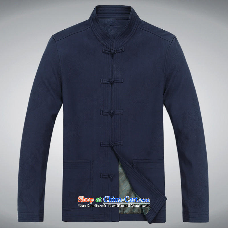 The autumn and winter, aeroline men Tang dynasty China wind long-sleeved father in older packaged deep blue?L