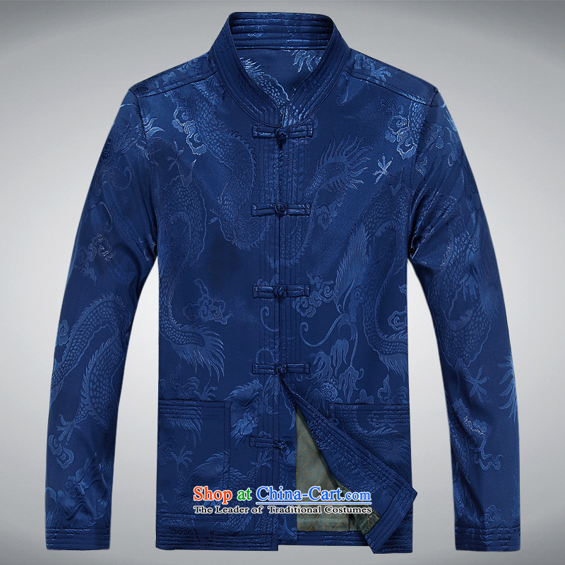 The autumn and winter, aeroline men Tang dynasty China wind long-sleeved father in older kit blue燲L
