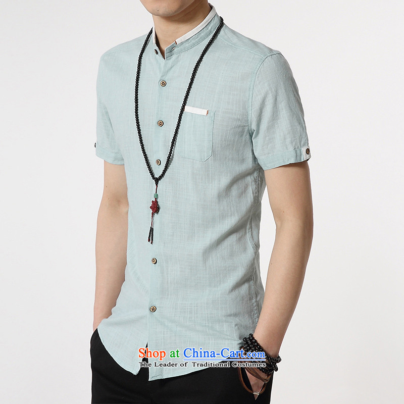 Gurun vani noon men business-short-sleeved shirt Zhongshan, linen: Light Green?M )