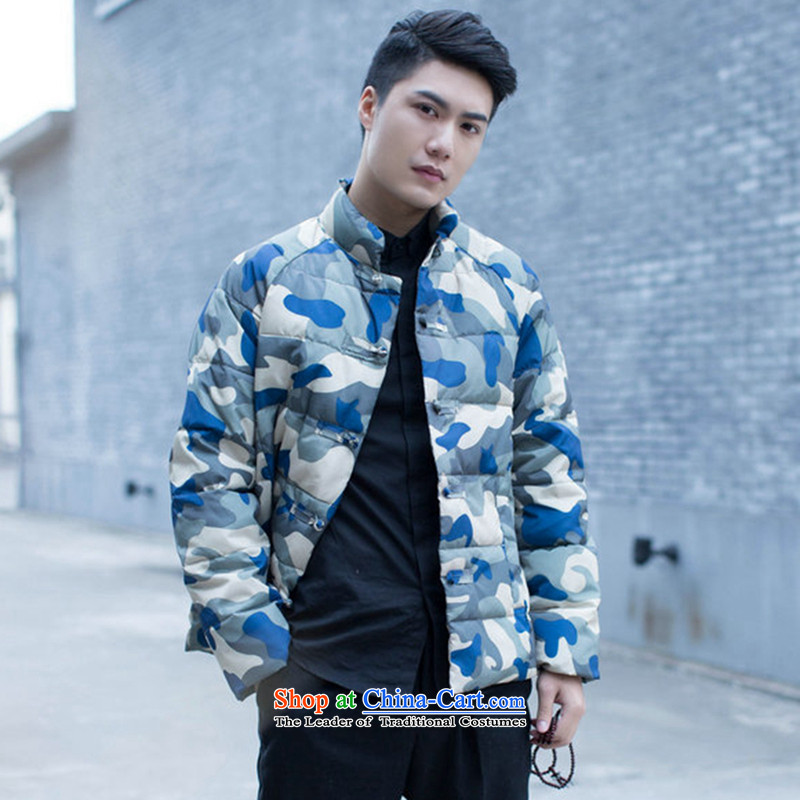 Floral winter clothing new stylish men improved men Tang Gown down cotton coat leisure collar camouflage China Wind Jacket Figure?2XL color