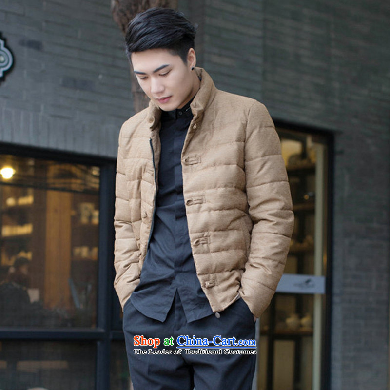 Dan smoke autumn and winter New Men Tang dynasty improved collar disc detained men feather cotton coat Sau San jacket color pictures and clips?M
