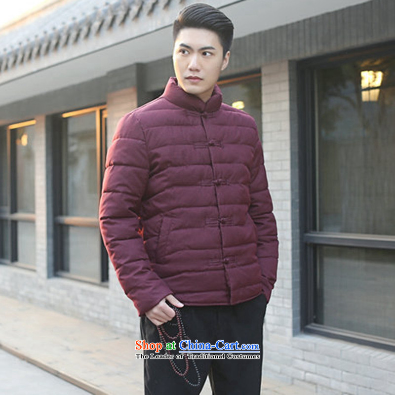 Floral men Tang dynasty autumn and winter new collar manually drive Chinese Wind and feather cotton coat jacket and pictures folders   Color?XL