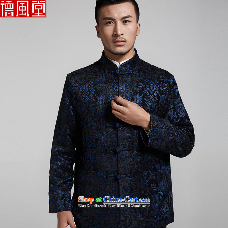 De Fudo fishery adhesive Small Tang dynasty and flip the cuffs autumn and winter long-sleeve sweater with flower patterns mentioned Chinese China wind Chinese clothing�2XL/180 Dark Blue