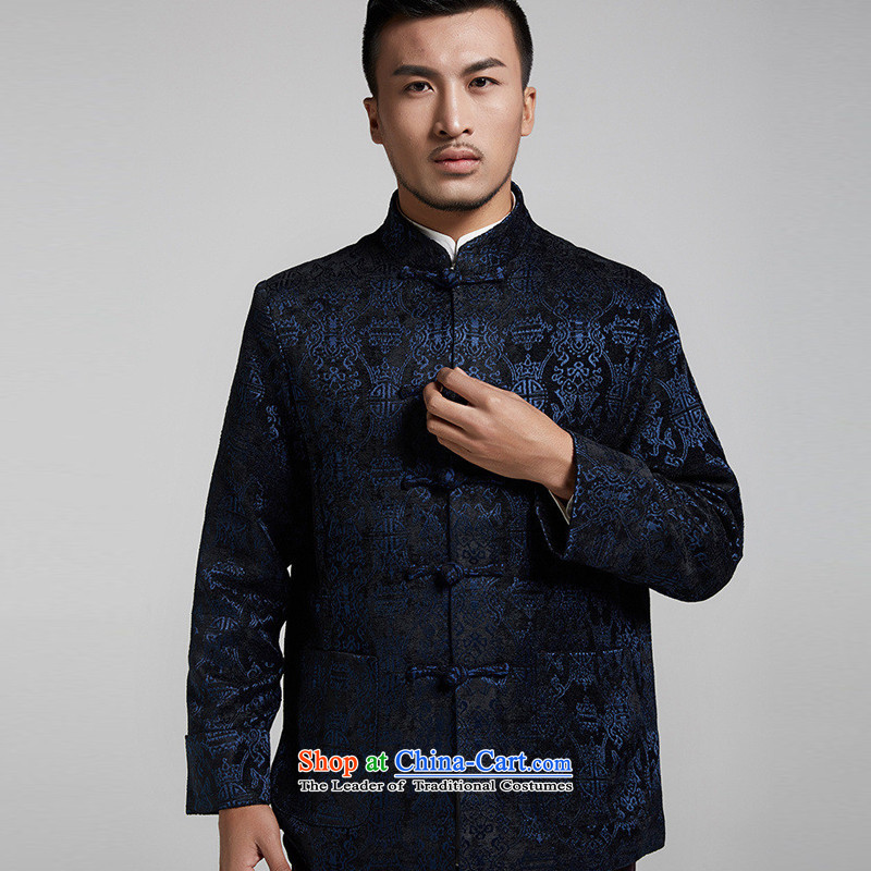 De Fudo fishery adhesive Small Tang dynasty and flip the cuffs autumn and winter long-sleeve sweater with flower patterns mentioned Chinese China wind Chinese clothing dark blue 2XL/180, de fudo shopping on the Internet has been pressed.