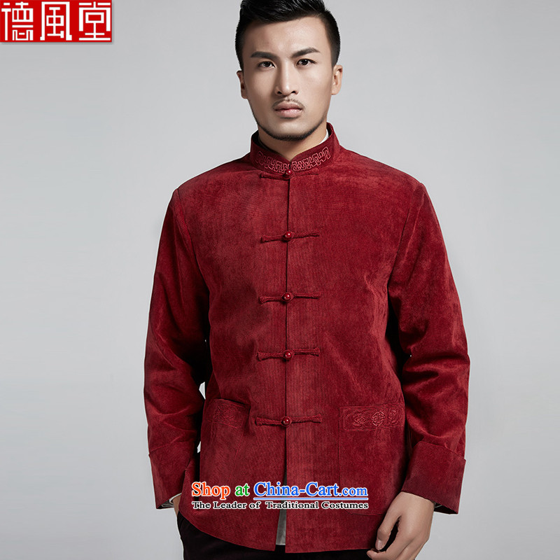 Fudo de feng ze autumn and winter men Tang jackets in Chinese older flip sleeved shirt collar China wind Chinese clothing Crimson Red?XL