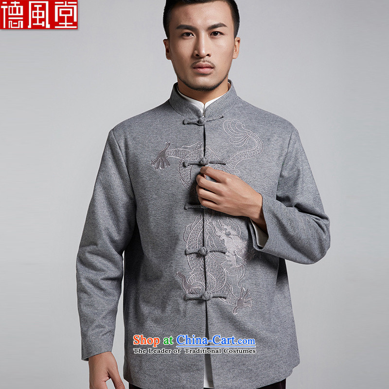 De Fudo Dragon embroidery genuine Tang Dynasty Chinese long-sleeve sweater men fall and winter clothes China wind Chinese clothing gray?XL