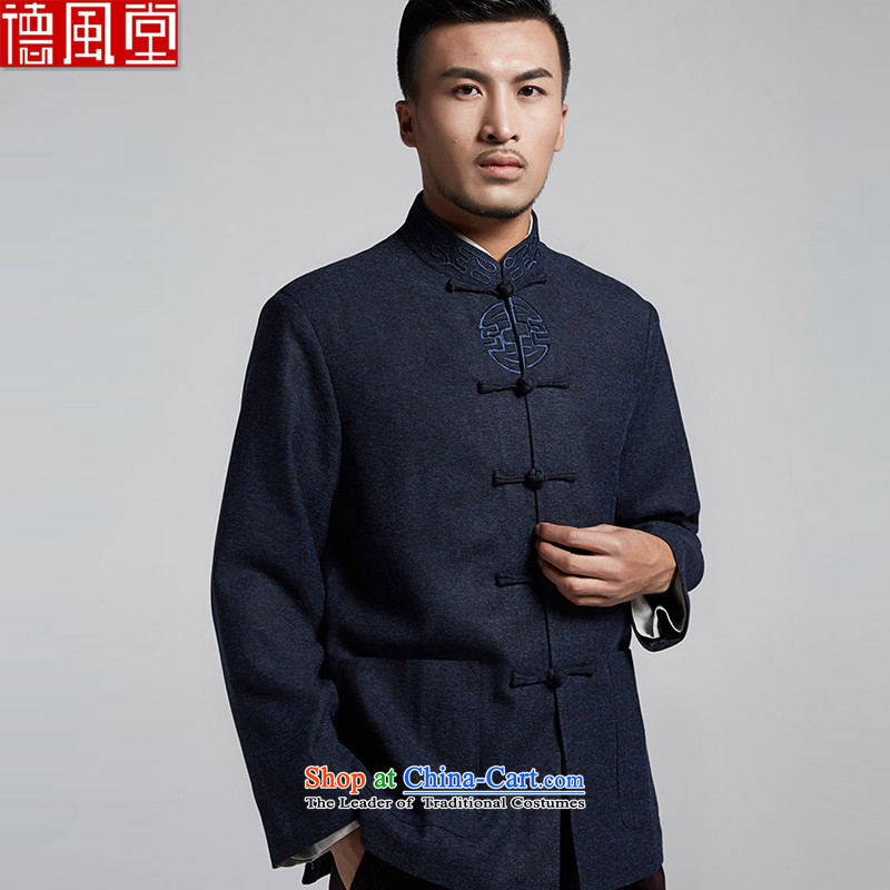 Fudo de is stuck in the former Yugoslavia Tang dynasty and long-sleeved jacket for autumn and winter Chinese embroidery manually disc detained men's jackets Chinese clothing in Tang dynasty blue�3XL older
