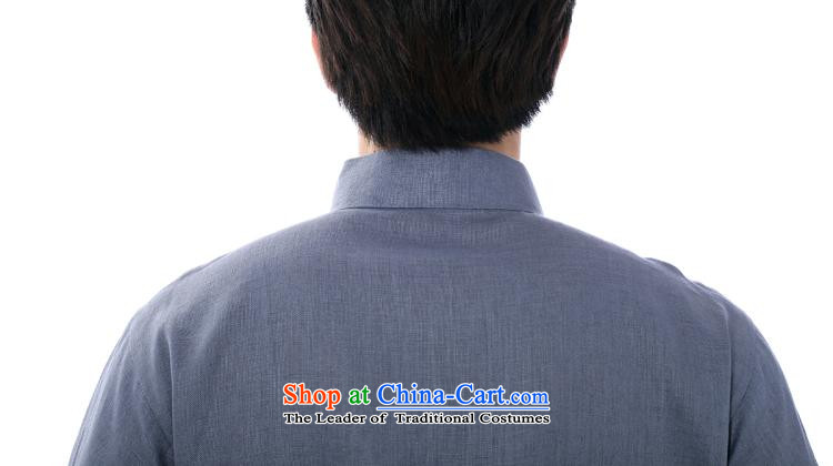 The dispatch of the summer of Tang Dynasty pure color linen male short-sleeve loose China wind men t-shirt and a mock-neck tie up national wind in older China wind gray-blue linen clothes only short-sleeved T-shirt XL Photo, prices, brand platters! The elections are supplied in the national character of distribution, so action, buy now enjoy more preferential! As soon as possible.