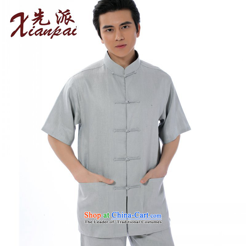 The dispatch of 2015 Summer new leisure thin, linen Short-Sleeve Men in Tang Dynasty older leisure national costumes new Chinese collar up short-sleeved T-shirt clip only linen light gray short-sleeved T-shirt�M