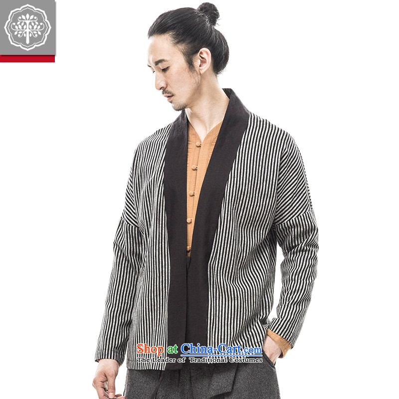 聽2015 Autumn tree to the new improved Han-men and long-sleeved Chinese men's jackets Monastery serving a ball-hyun male services vertical band聽165_S Gray