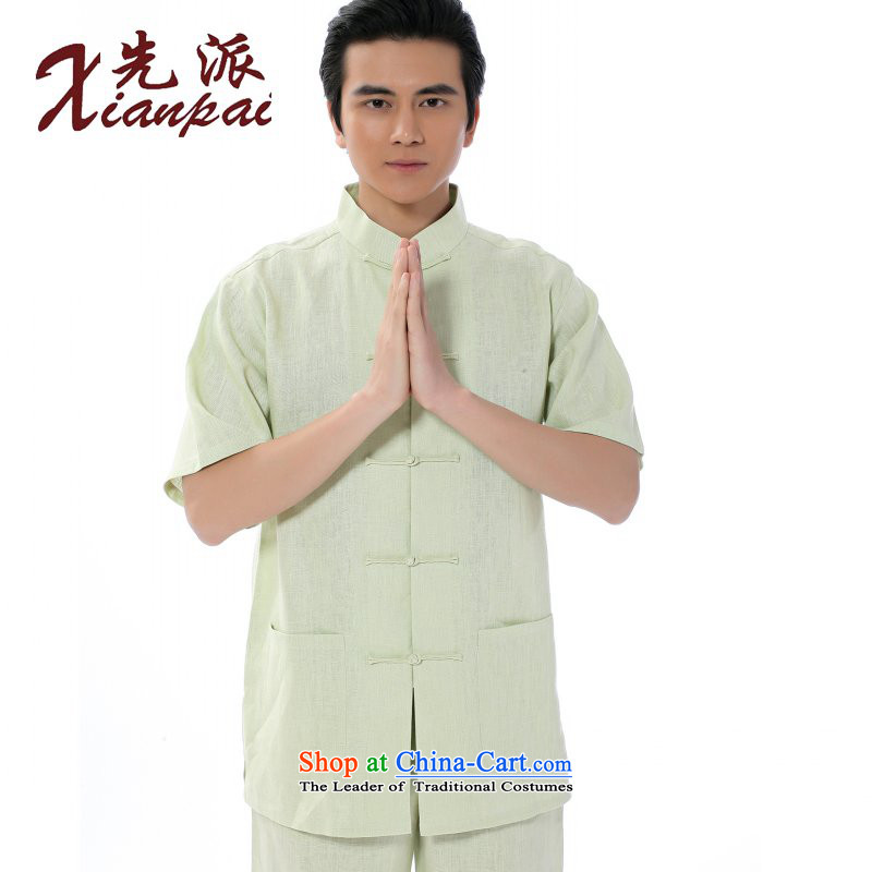 The dispatch of China wind Chinese tunic Chinese men of older persons in the summer linen loose Tang dynasty increase short-sleeved T-shirt men Han-national services only T-shirt linen ball-light green short-sleeved T-shirt?L