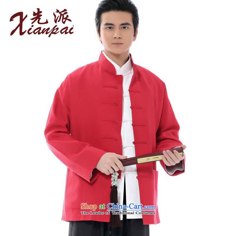 The dispatch of the Spring and Autumn Period and the Tang Dynasty New Men silk linen coat retro-sleeved stylish youth China wind wedding dresses long-sleeved top tray red clip collar chinese red T-shirt, jacket Ma Tei?XXL
